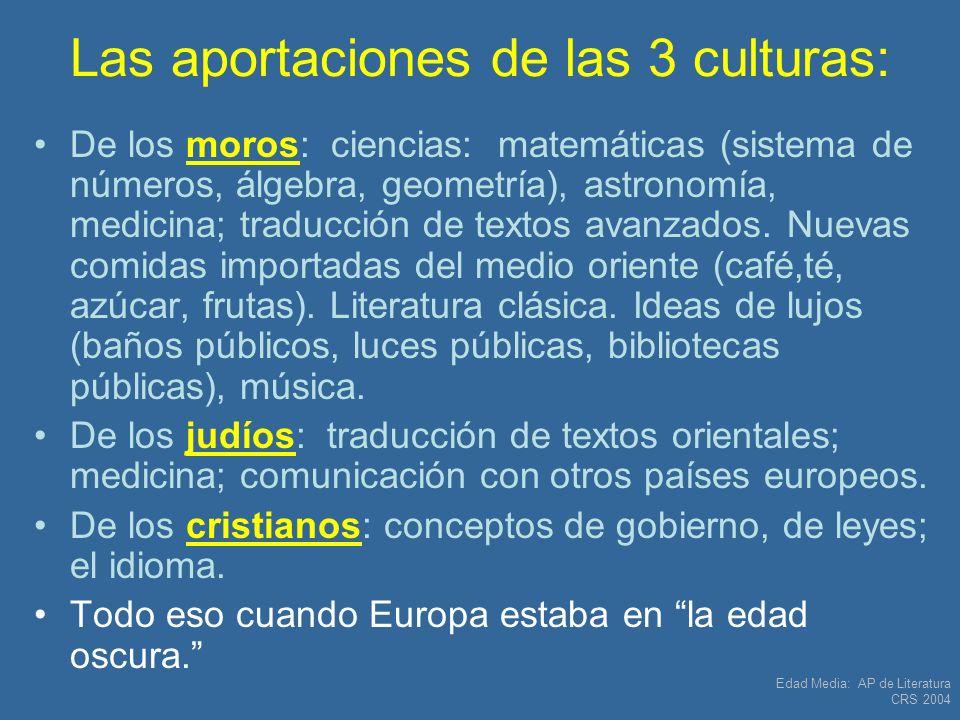 Las aportaciones de las 3 culturas: