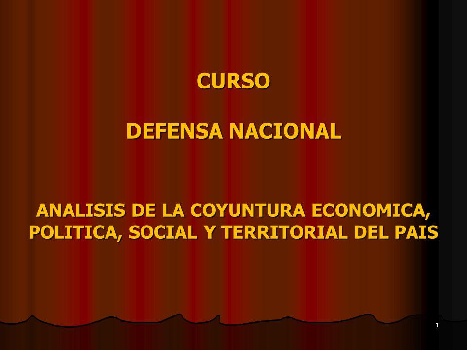 CURSO DEFENSA NACIONAL ANALISIS DE LA COYUNTURA ECONOMICA, POLITICA, SOCIAL Y TERRITORIAL DEL PAIS