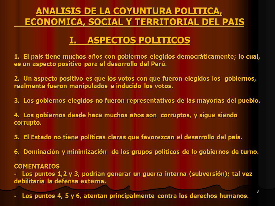 ANALISIS DE LA COYUNTURA POLITICA, ECONOMICA, SOCIAL Y TERRITORIAL DEL PAIS I.