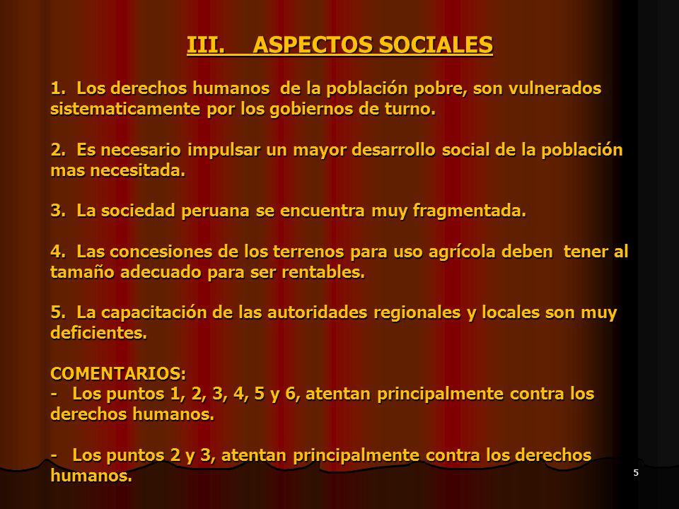 III. ASPECTOS SOCIALES 1.