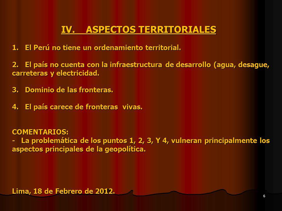 IV. ASPECTOS TERRITORIALES 1