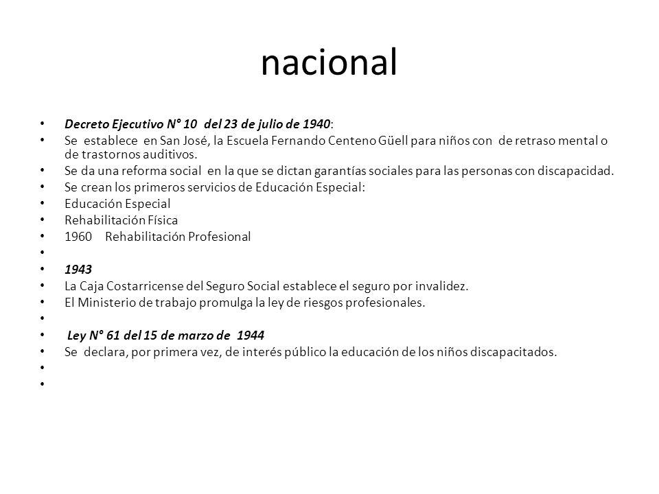 nacional Decreto Ejecutivo N° 10 del 23 de julio de 1940: