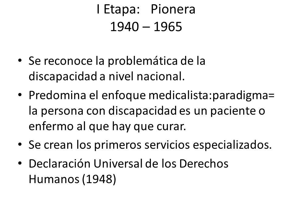 I Etapa: Pionera 1940 – 1965 Se reconoce la problemática de la discapacidad a nivel nacional.