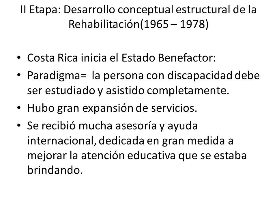 II Etapa: Desarrollo conceptual estructural de la Rehabilitación(1965 – 1978)