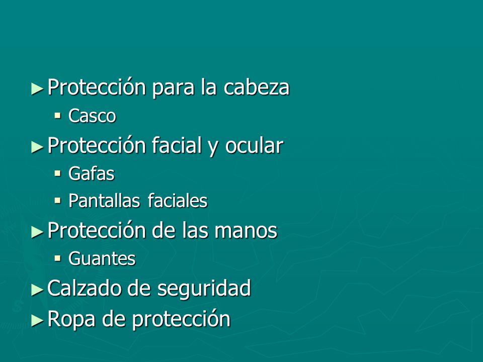 Protección para la cabeza Protección facial y ocular