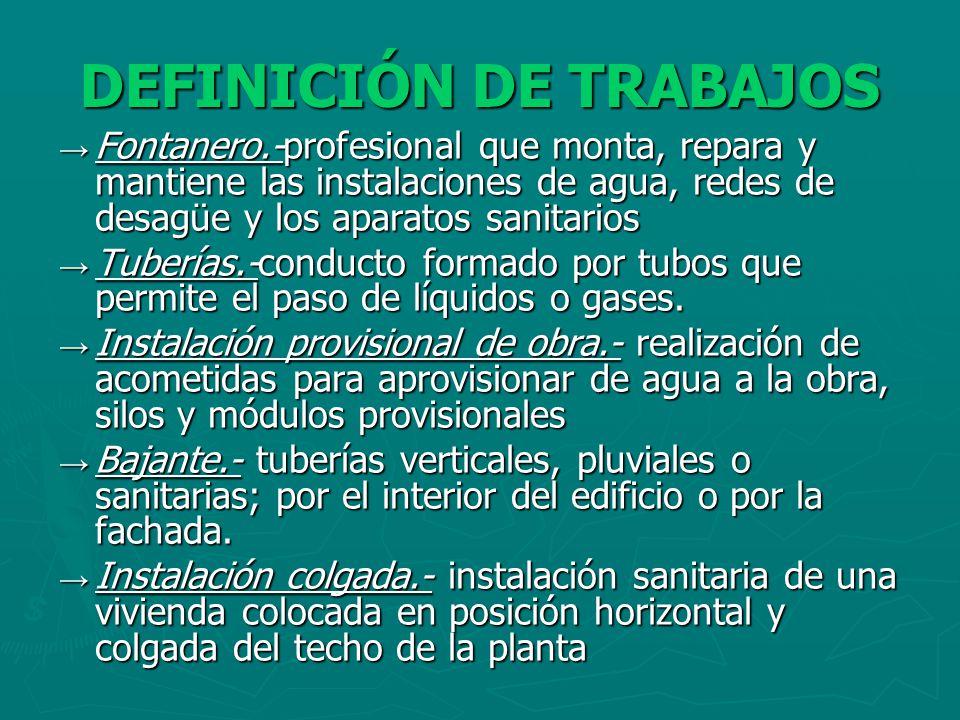DEFINICIÓN DE TRABAJOS