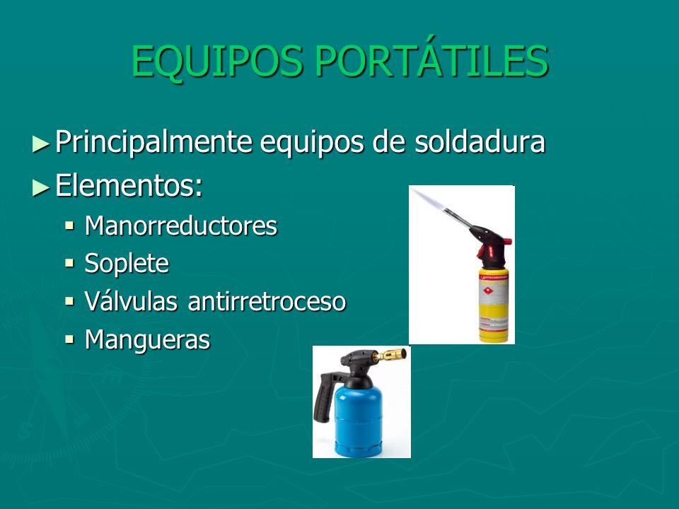 EQUIPOS PORTÁTILES Principalmente equipos de soldadura Elementos: