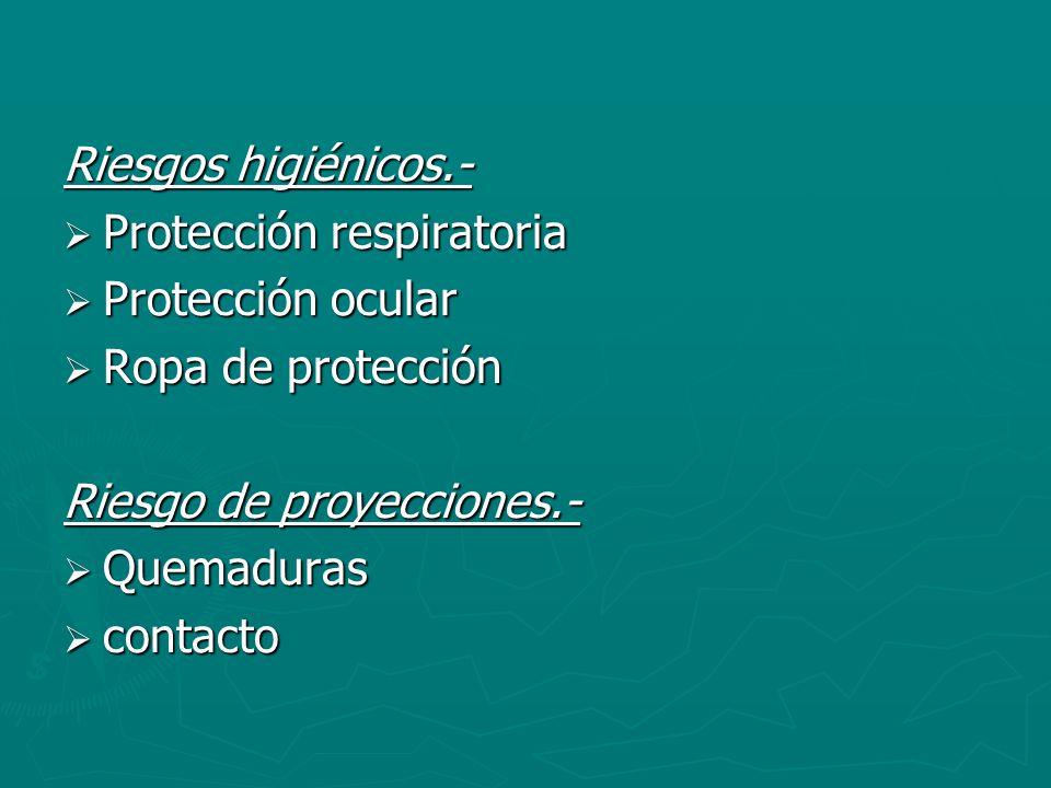 Riesgos higiénicos.- Protección respiratoria. Protección ocular. Ropa de protección. Riesgo de proyecciones.-