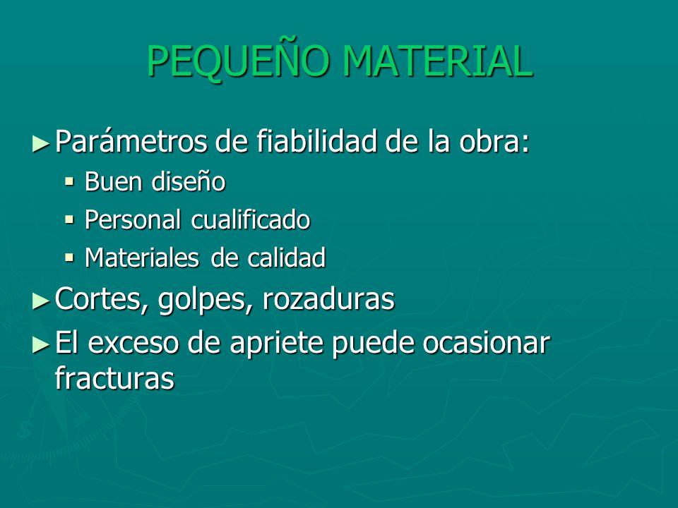 PEQUEÑO MATERIAL Parámetros de fiabilidad de la obra: