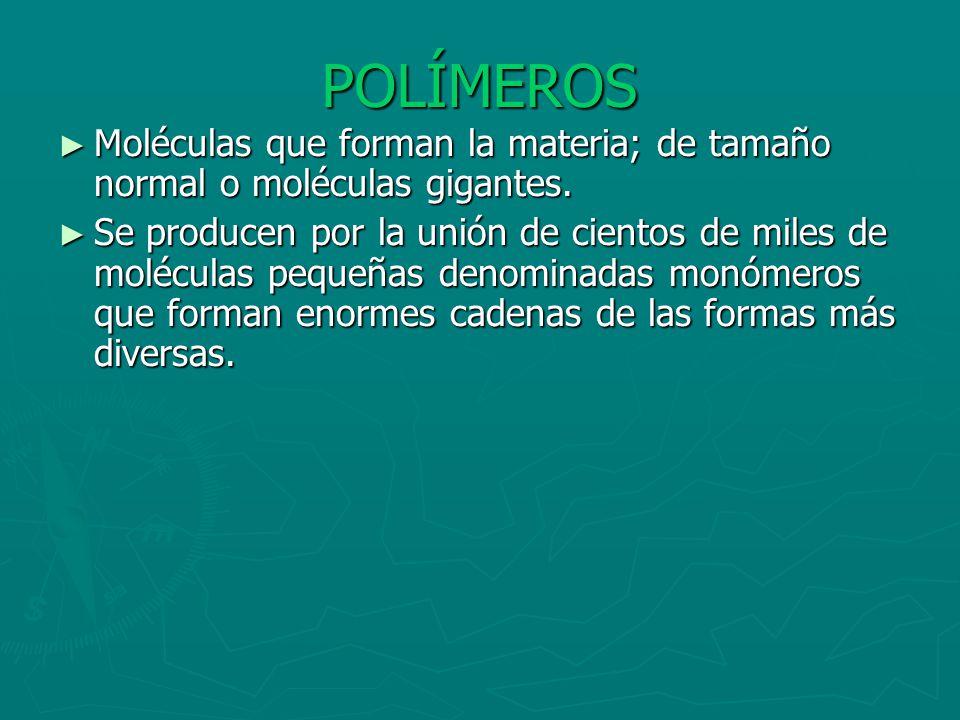 POLÍMEROS Moléculas que forman la materia; de tamaño normal o moléculas gigantes.
