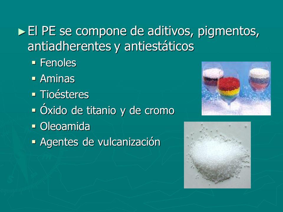 El PE se compone de aditivos, pigmentos, antiadherentes y antiestáticos