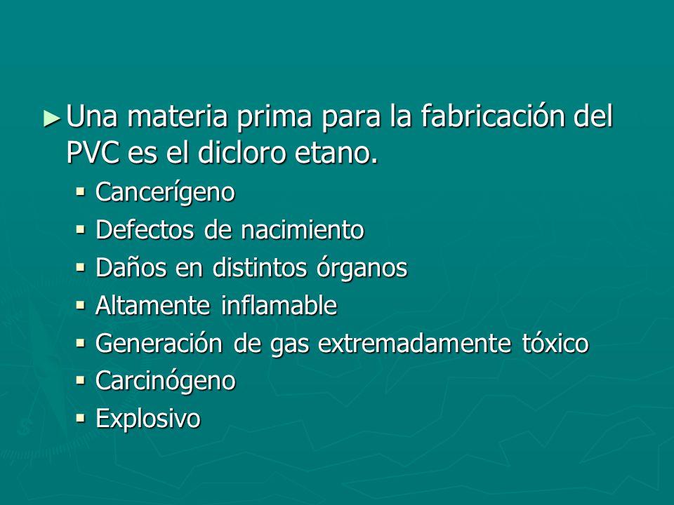 Una materia prima para la fabricación del PVC es el dicloro etano.