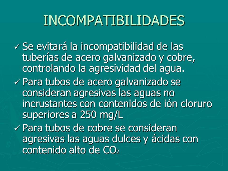 INCOMPATIBILIDADES Se evitará la incompatibilidad de las tuberías de acero galvanizado y cobre, controlando la agresividad del agua.