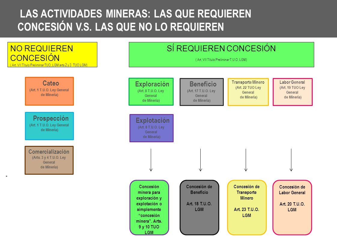 LAS ACTIVIDADES MINERAS: LAS QUE REQUIEREN CONCESIÓN V. S