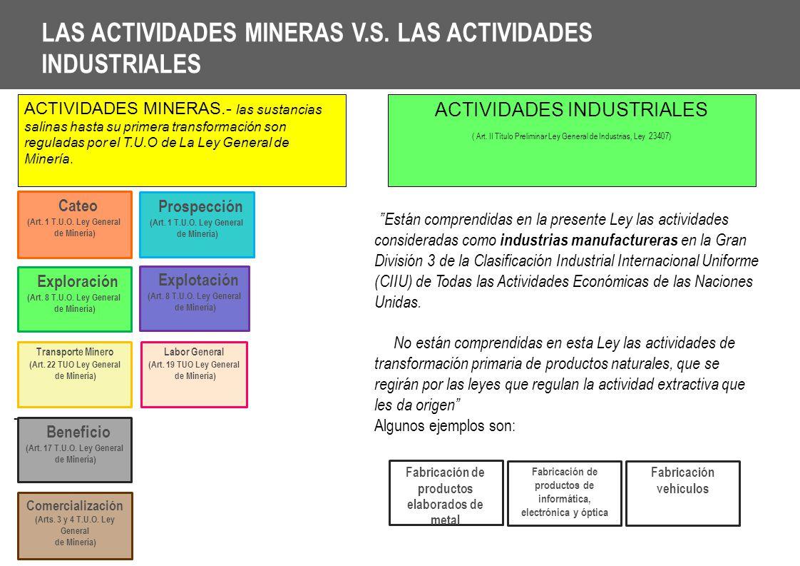 LAS ACTIVIDADES MINERAS V.S. LAS ACTIVIDADES INDUSTRIALES