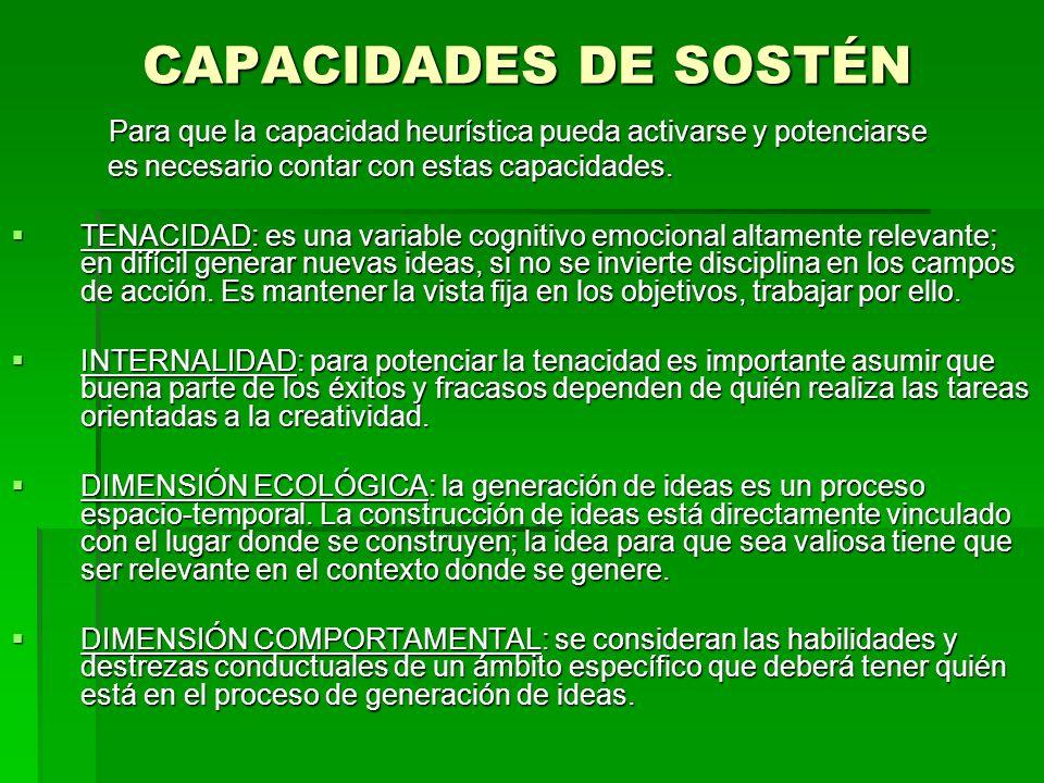 CAPACIDADES DE SOSTÉN es necesario contar con estas capacidades.
