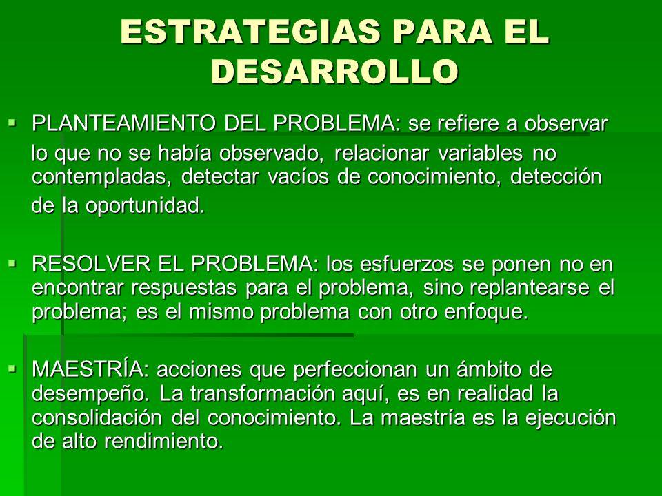 ESTRATEGIAS PARA EL DESARROLLO
