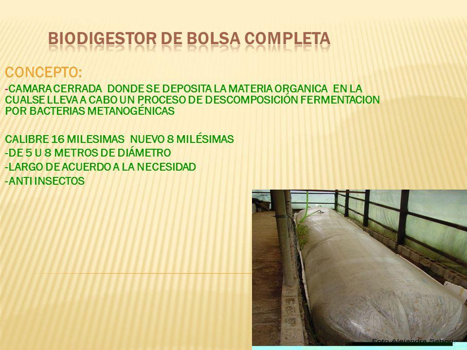 BIODIGESTOR DE BOLSA COMPLETA
