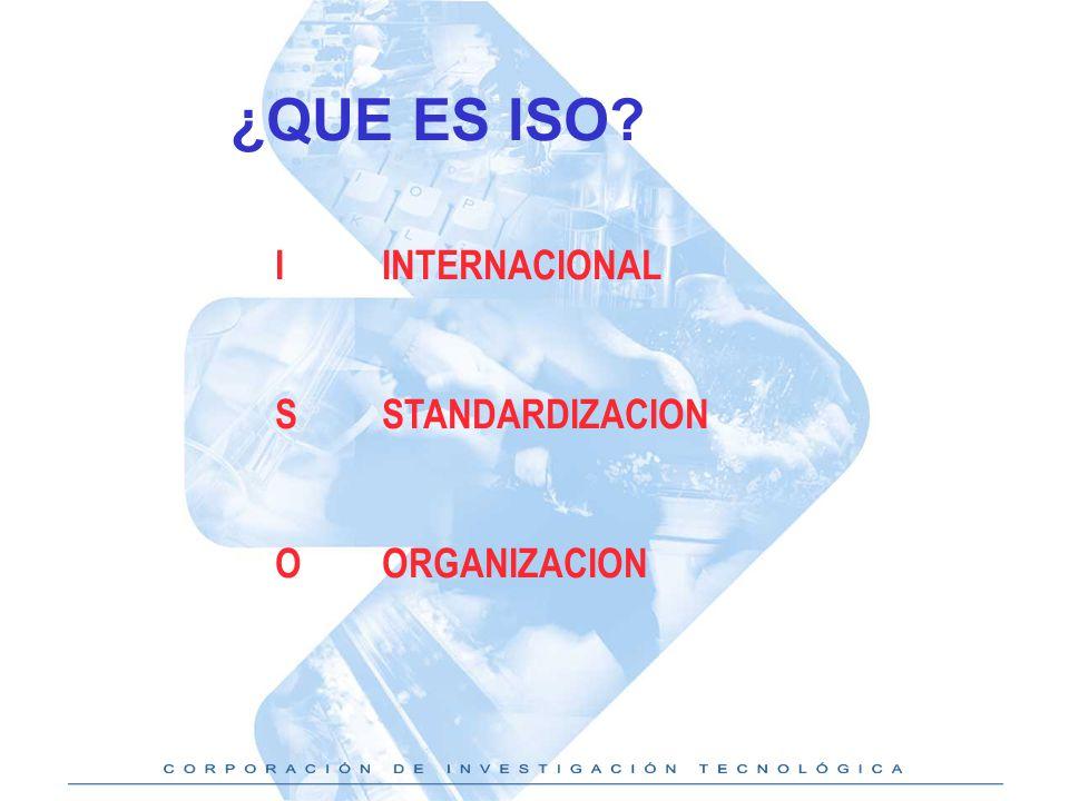 ¿QUE ES ISO I INTERNACIONAL S STANDARDIZACION O ORGANIZACION