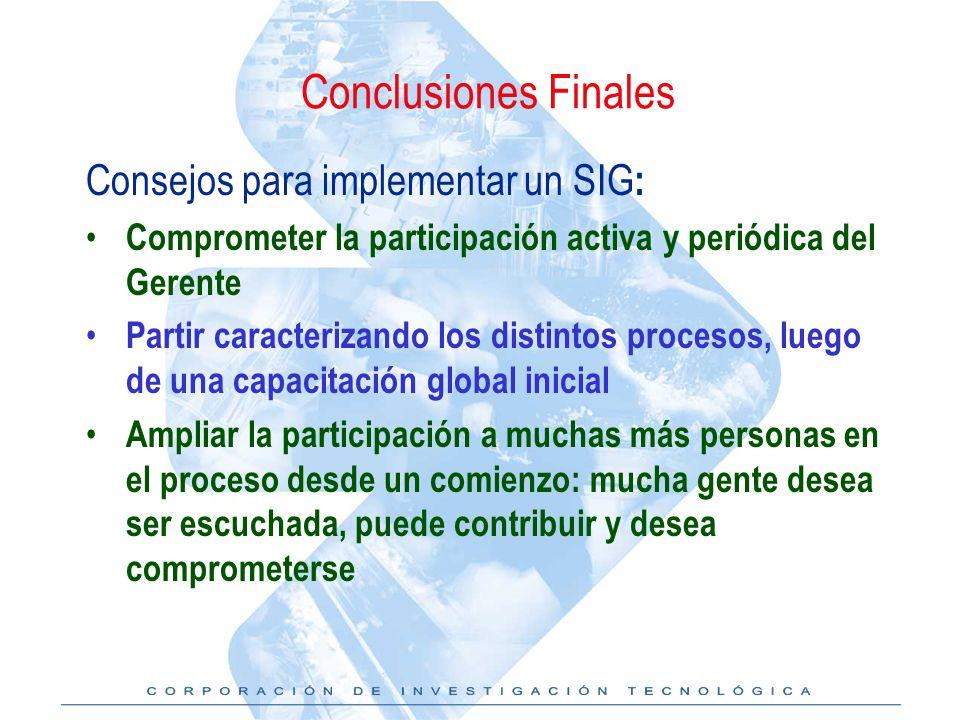 Conclusiones Finales Consejos para implementar un SIG: