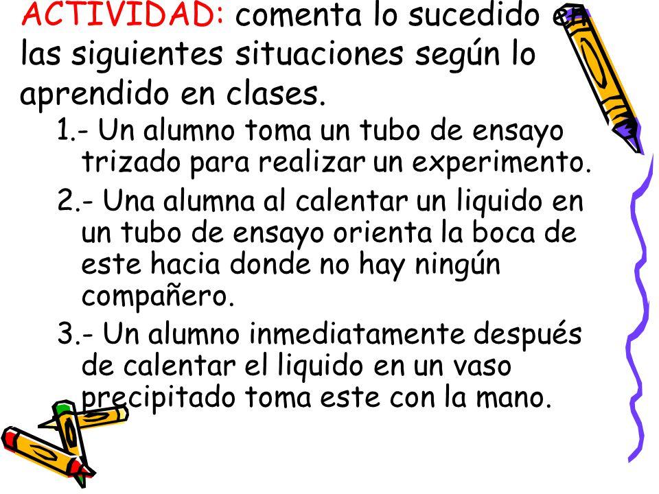 ACTIVIDAD: comenta lo sucedido en las siguientes situaciones según lo aprendido en clases.