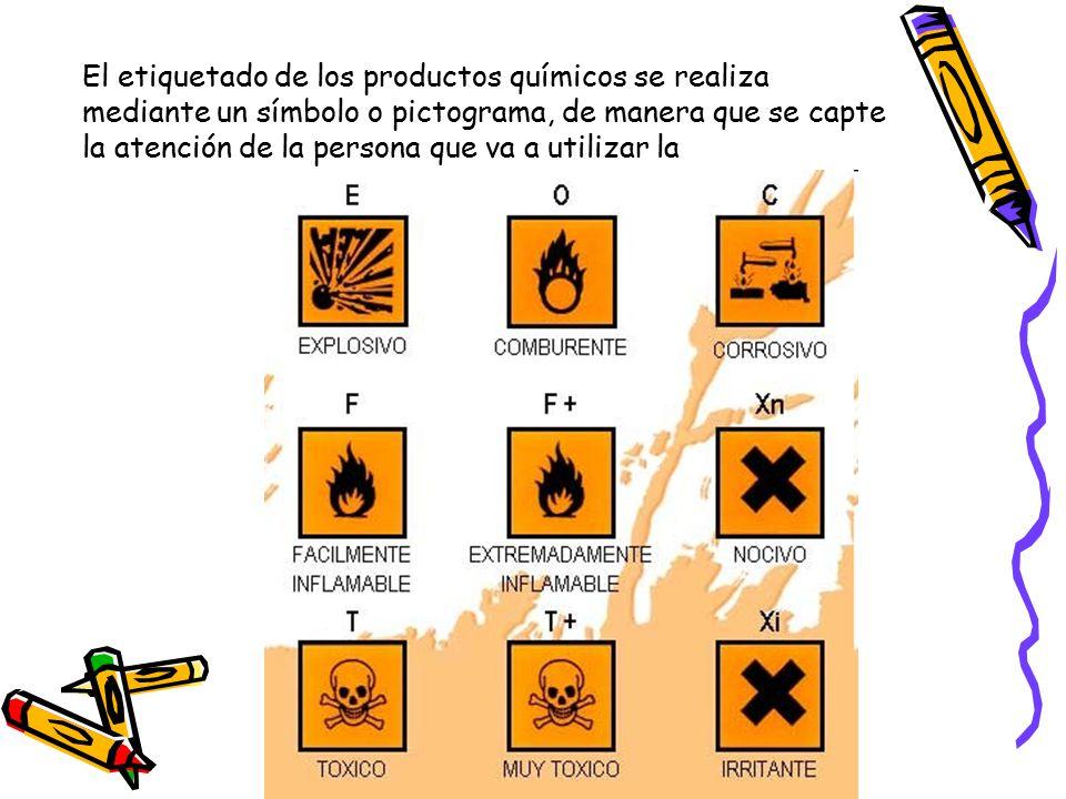 El etiquetado de los productos químicos se realiza mediante un símbolo o pictograma, de manera que se capte la atención de la persona que va a utilizar la