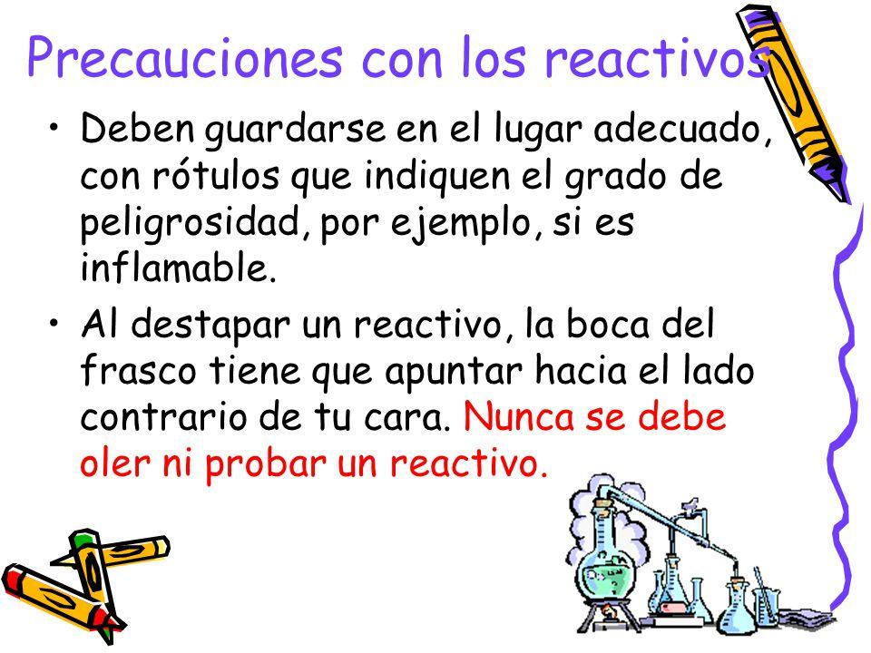 Precauciones con los reactivos