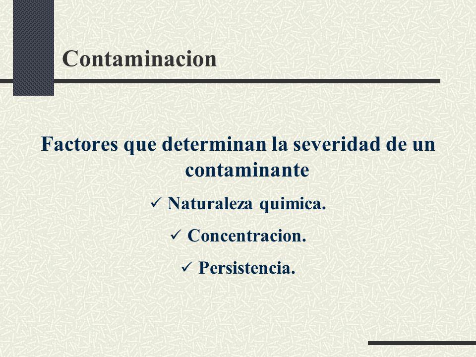 Factores que determinan la severidad de un contaminante