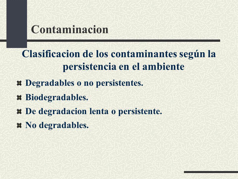 Contaminacion Clasificacion de los contaminantes según la persistencia en el ambiente. Degradables o no persistentes.