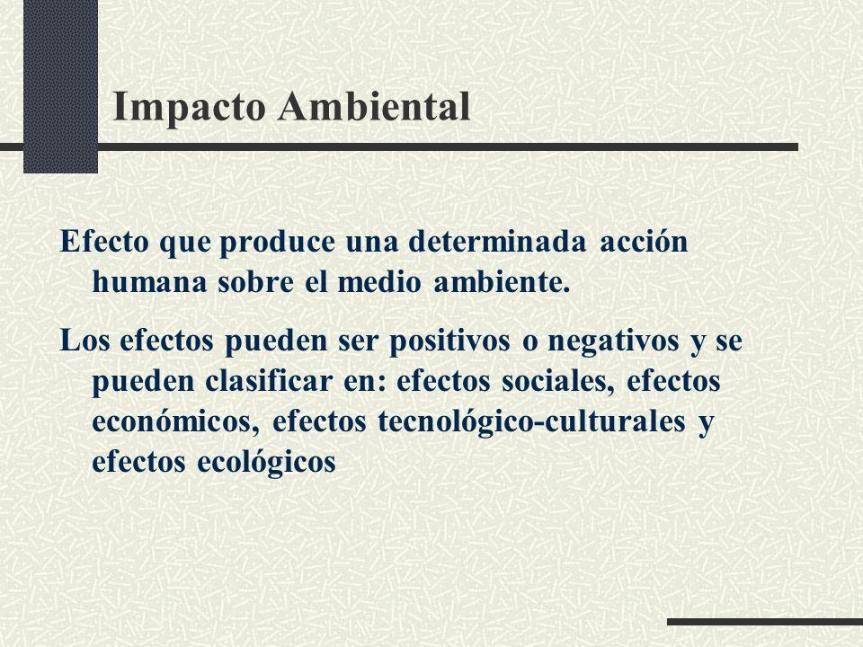 Impacto Ambiental Efecto que produce una determinada acción humana sobre el medio ambiente.