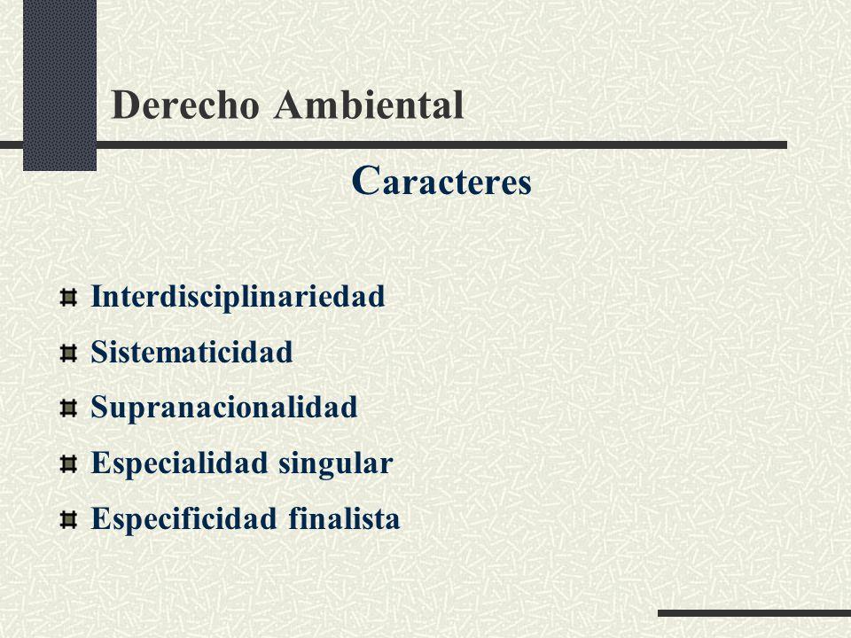 Derecho Ambiental Caracteres Interdisciplinariedad Sistematicidad