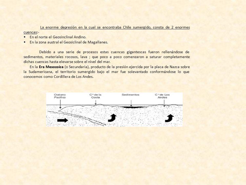 La enorme depresión en la cual se encontraba Chile sumergido, consta de 2 enormes cuencas:-