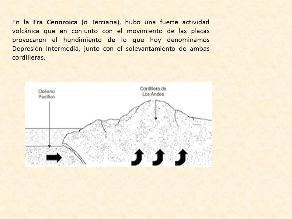 En la Era Cenozoica (o Terciaria), hubo una fuerte actividad volcánica que en conjunto con el movimiento de las placas provocaron el hundimiento de lo que hoy denominamos Depresión Intermedia, junto con el solevantamiento de ambas cordilleras.