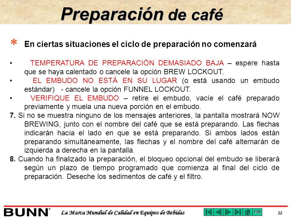 Preparación de café En ciertas situaciones el ciclo de preparación no comenzará.