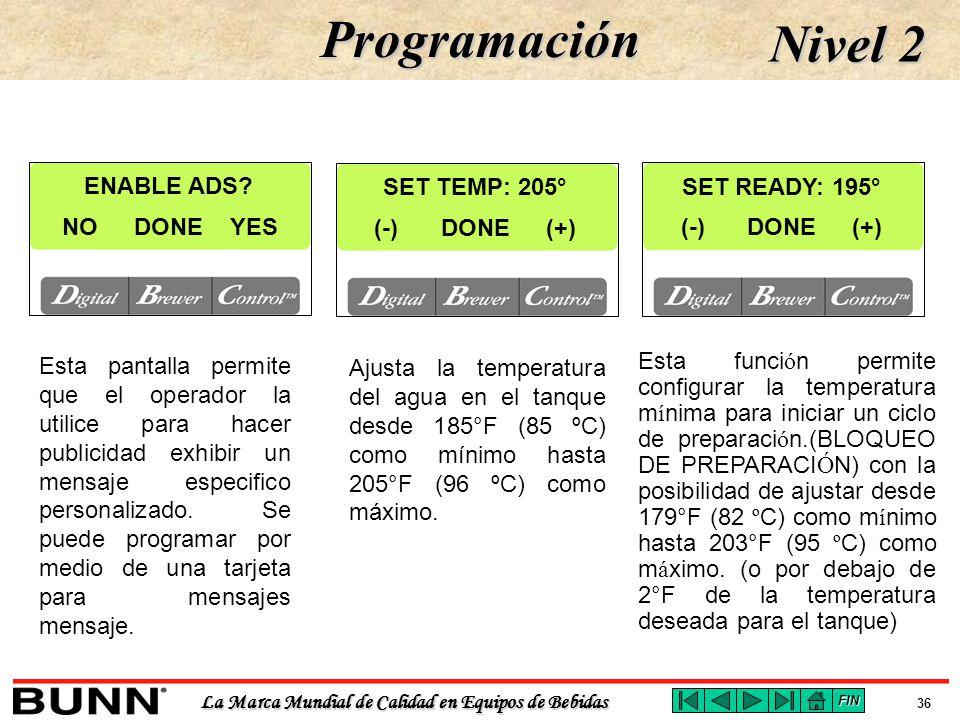 Programación Nivel 2 ENABLE ADS SET TEMP: 205° SET READY: 195° NO