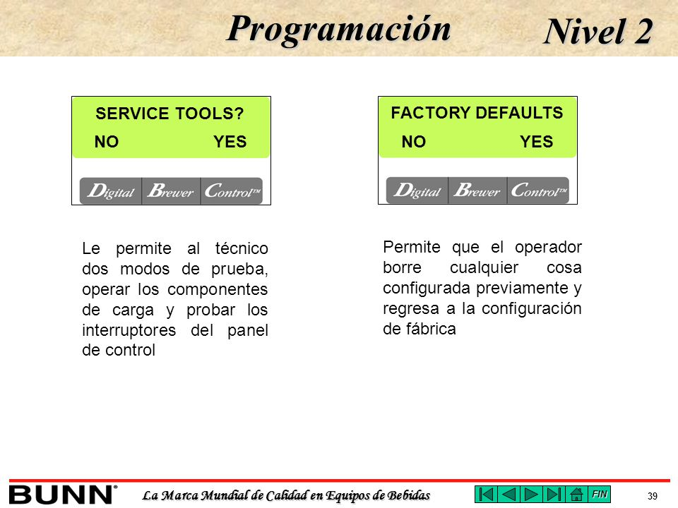 Programación Nivel 2 SERVICE TOOLS FACTORY DEFAULTS NO YES NO YES