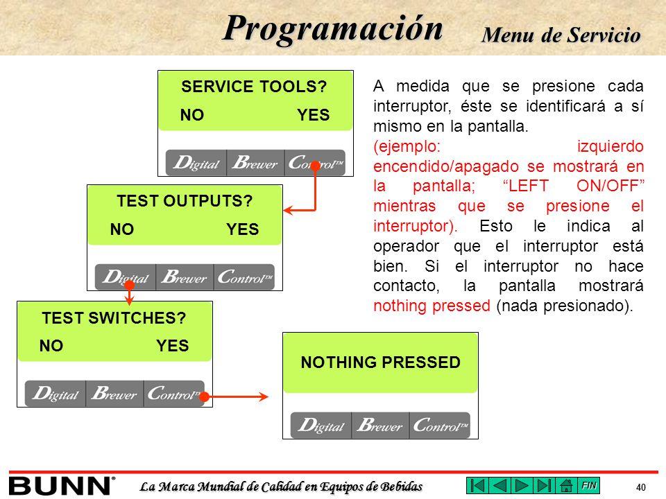 Programación Menu de Servicio SERVICE TOOLS