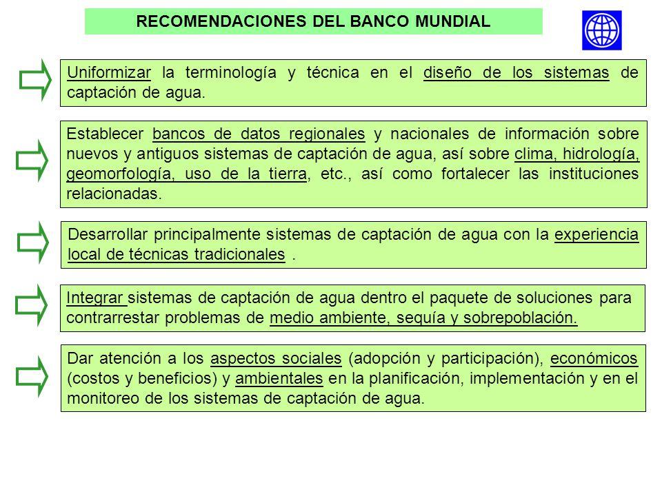 RECOMENDACIONES DEL BANCO MUNDIAL