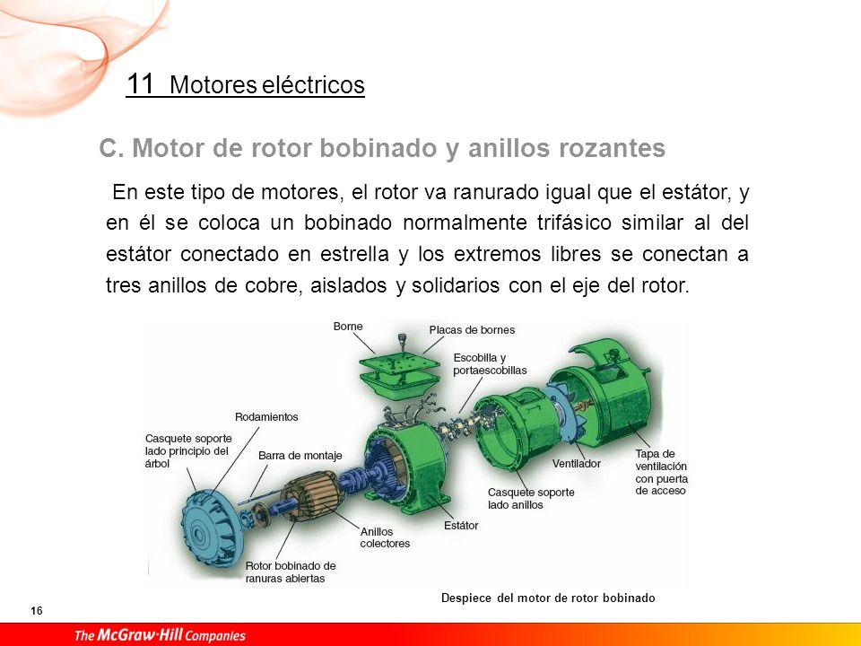 Sobre los anillos, se colocan los portaescobillas, que a su vez se conectan a la placa de bornes del motor. Por eso, en la placa de bornes de estos motores aparecen nueve bornes.