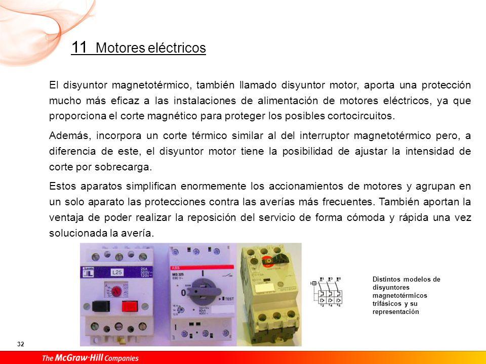 En los siguientes esquemas se representa el accionamiento de un motor trifásico de corriente alterna mediante disyuntor magnético y mediante disyuntor magnetotérmico.