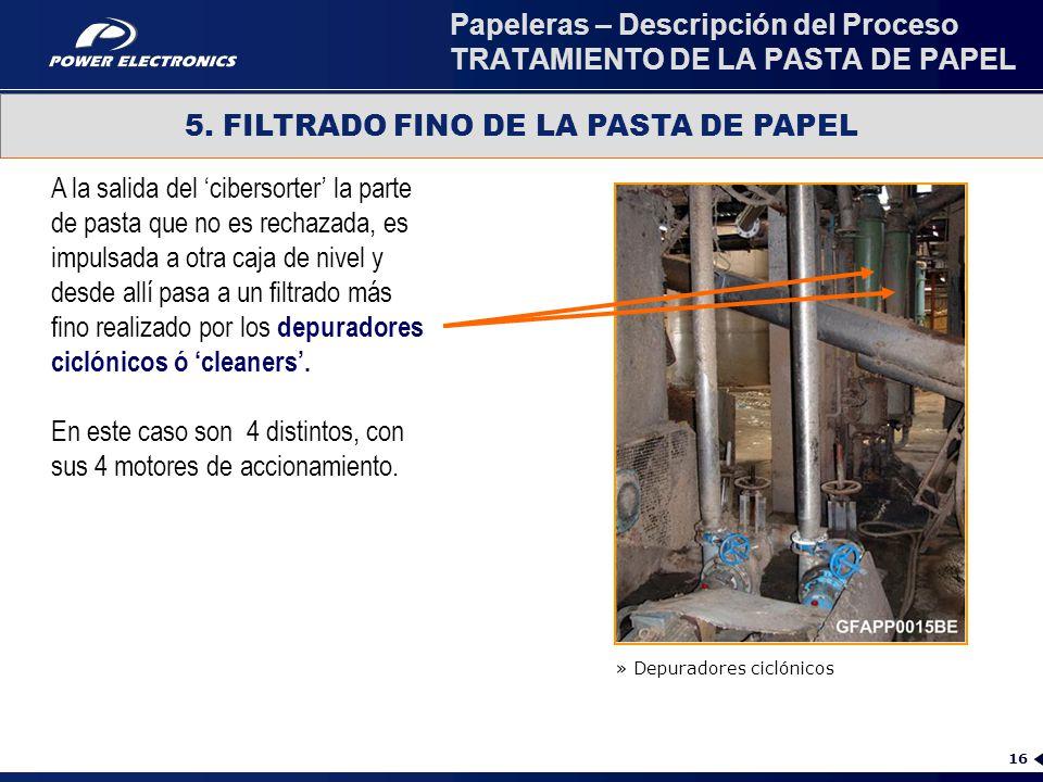 Papeleras – Descripción del Proceso TRATAMIENTO DE LA PASTA DE PAPEL
