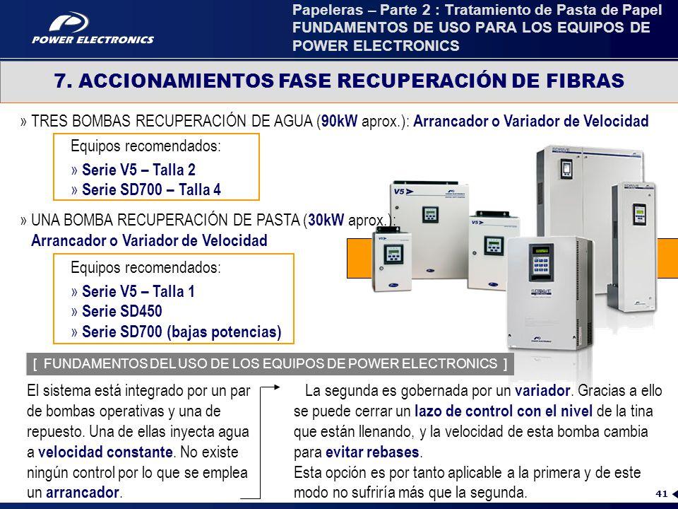 7. ACCIONAMIENTOS FASE RECUPERACIÓN DE FIBRAS