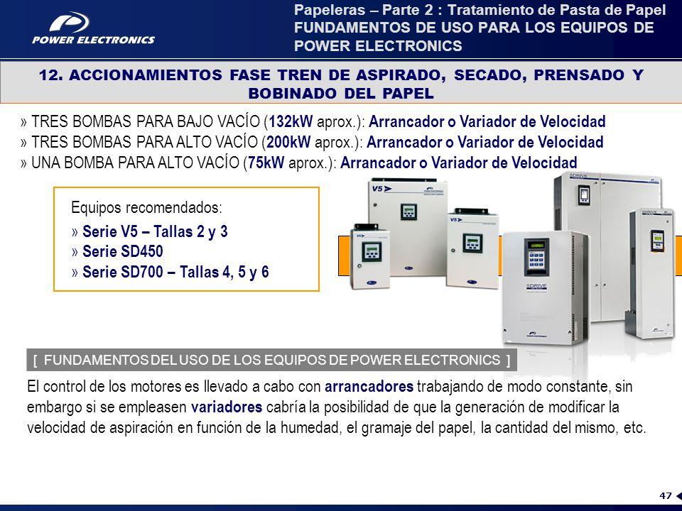 Equipos recomendados: Serie V5 – Tallas 2 y 3 Serie SD450