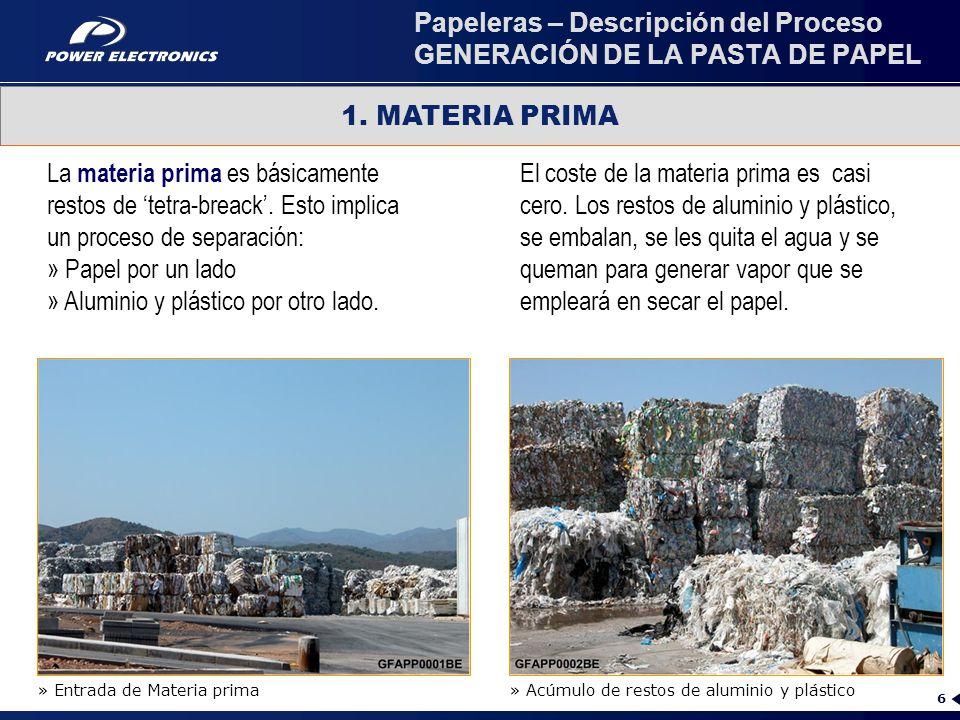 Papeleras – Descripción del Proceso GENERACIÓN DE LA PASTA DE PAPEL