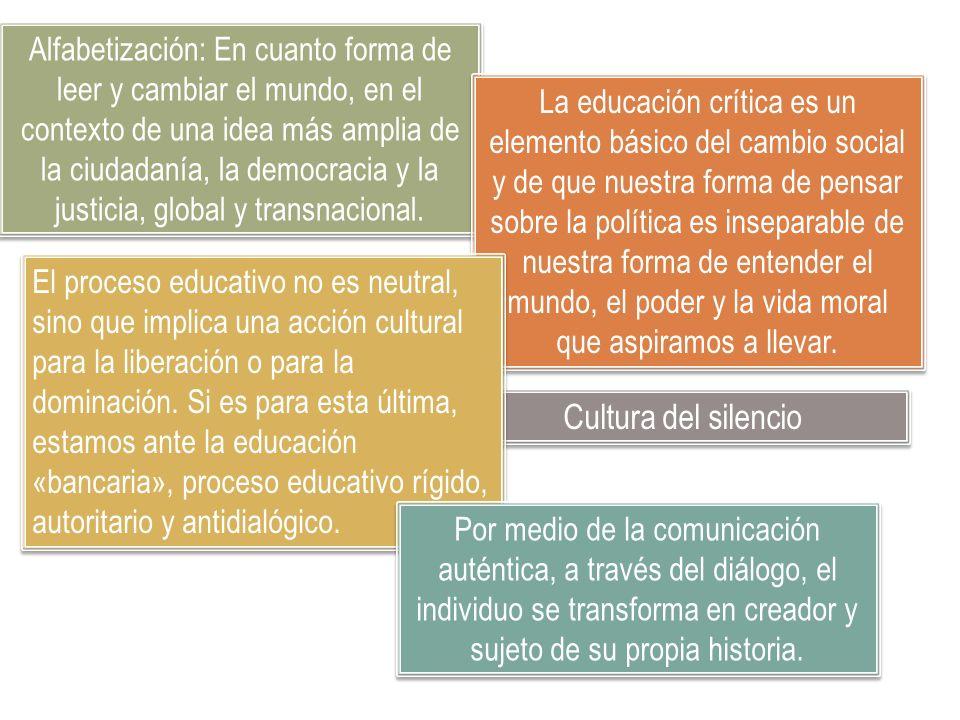 Alfabetización: En cuanto forma de leer y cambiar el mundo, en el contexto de una idea más amplia de la ciudadanía, la democracia y la justicia, global y transnacional.