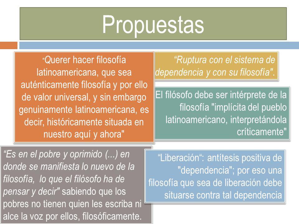Propuestas Ruptura con el sistema de dependencia y con su filosofía .