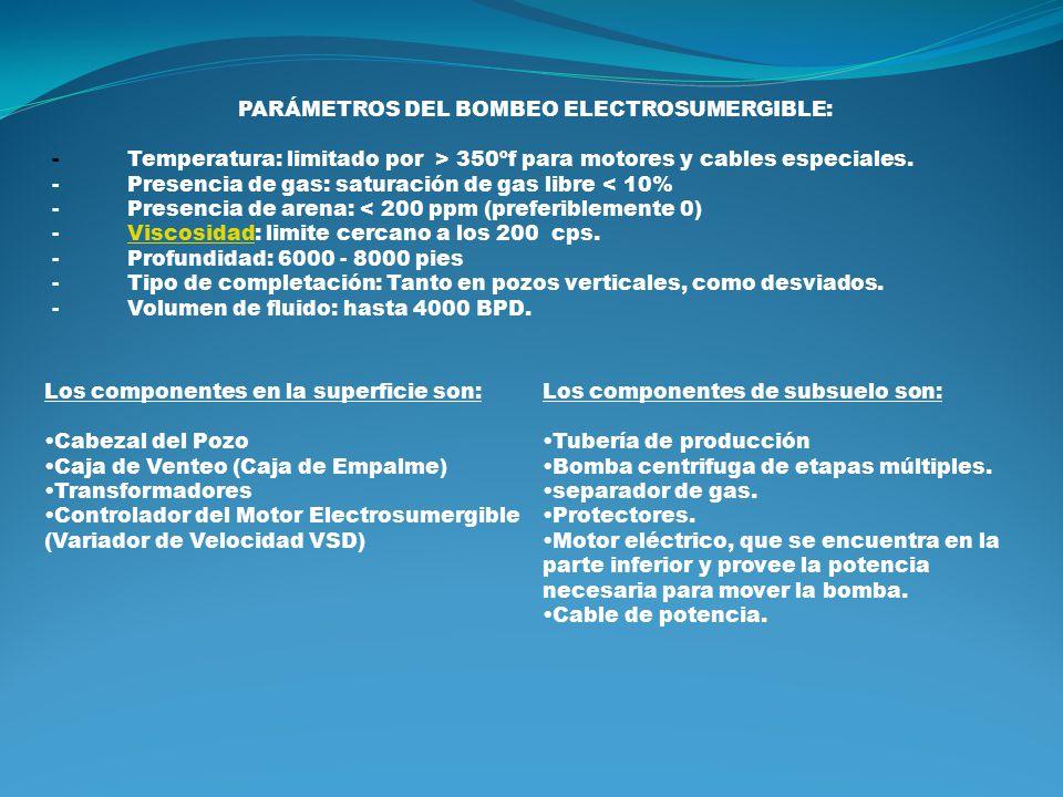 PARÁMETROS DEL BOMBEO ELECTROSUMERGIBLE:
