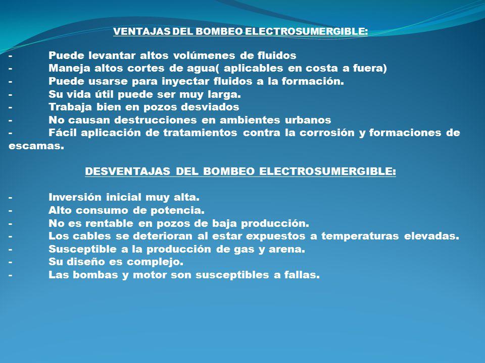 DESVENTAJAS DEL BOMBEO ELECTROSUMERGIBLE: