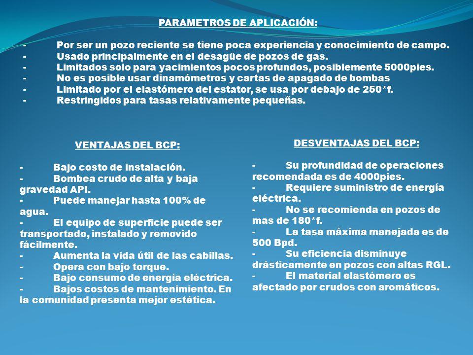 PARAMETROS DE APLICACIÓN:
