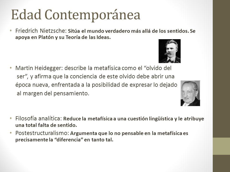 Edad ContemporáneaFriedrich Nietzsche: Sitúa el mundo verdadero más allá de los sentidos. Se apoya en Platón y su Teoría de las Ideas.